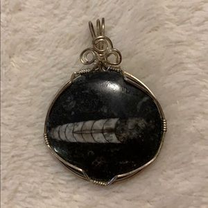 🦴 Hand Wrapped Fossilized Orthoceras Pendant 🦴